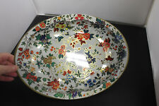Daher Decorated Ware Vintage Oval Floral Tin Bowl Made in England