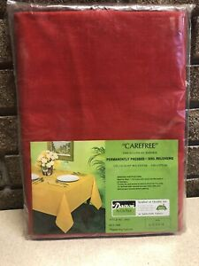 Linen Tablecloth Bardwil Dupont Dacron Red Carefree 60 X 84 Vintage