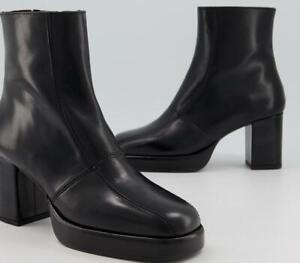 Office Adele Platform Ankle Boots Black Leather Size UK 3 EU 36