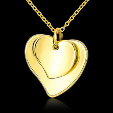 Lovely 18k 18ct Gold Filled Double Heart Pendant Necklace Woman Gift N528