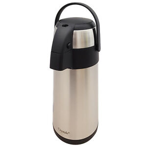 3/5L Tea Coffee Pot Vacuum Insulated Pump Action Travel Flask With Carry Handle