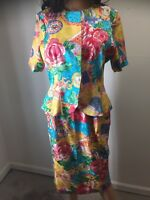 Adrianna Papell 2 Pc Womens Silk Skirt Suit Outfit Yellow Floral Size 10