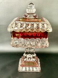 """VINTAGE WESTMORELAND LIDDED CANDY DISH FLASHED RED GLASS WEDDING DISH  10"""""""