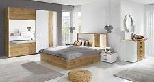 Komplett Schlafzimmer Forest Hochglanz Weiß / Altholz Optik mit LED 5-teilig NEU