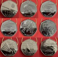 Olympics 50p fifty pence coins Football, Triathlon - CIR UNC BU