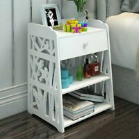 Bedside Table Cabinet Cupboard Night stand Storage Organizer Shelving Rack White