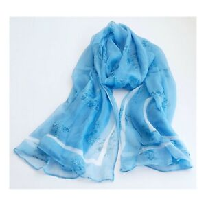 100% Pure Silk Scarf Women Oversize Shawl Hair Neck Head Wrap Sky Blue Floral