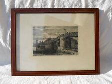 Eau forte , Ancien Paris Estacade 1840 l'ile Louvière et l'ile st Louis  Martial