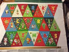 Santa Claus Christmas Bunting 100 Cotton Quilting Panel Fabric