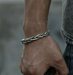 Men 925 Sterling Silver Thai Handmade Vintage Open Bangle Twisted Cuff Bracelet