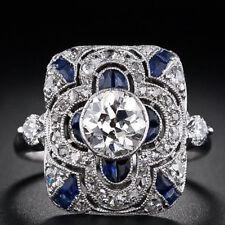 Woman Fashion Jewelry 925 Silver Ring Blue Sapphire Man Wedding Ring Size 6-10