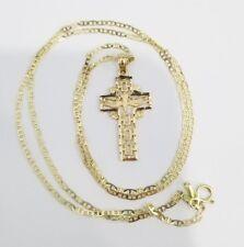 14k Yellow Gold Dove First Communion Cross Pendant Charm 20 Inch Gucci Chain