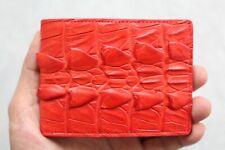 Red Genuine Alligator ,Crocodile Leather Skin Men's Money Clip Wallet
