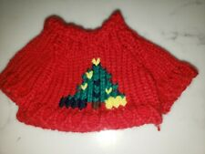 Red Christmas Tree Plush Teddy Bear Knit Sweater Outfit fits 7-9 inch
