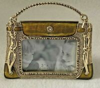 "Photo Frame 3 x 2"" Gold Enamel Gold Tone Embellished Handbag Purse"