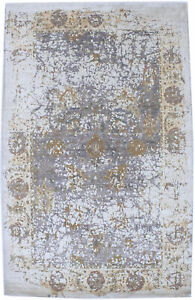 Muted Wool & Bamboo Silk Distressed 5X8 New Oriental Home Decor Area Rug Carpet