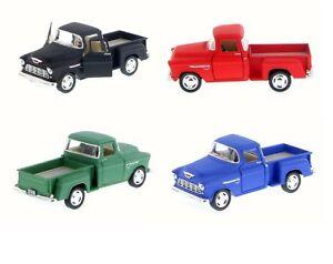 "4PC Set : 5"" Kinsmart 1955 Chevy Stepside 3100 PickUp Truck Diecast 1:32 Matte"