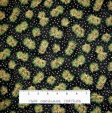 Christmas Fabric - Holiday Accents Metallic Pine Bough Black - RJR Cotton YARD