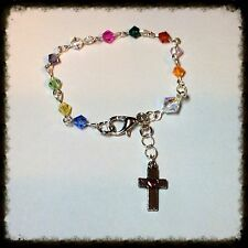 Handcrafted Girls Silver Link MADE WITH Swarovski Crystals Rosary Bracelet
