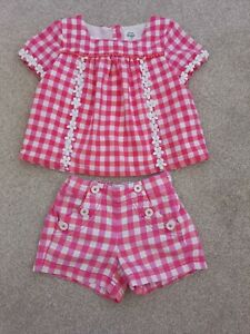 Girl's Mini Boden Red Checked Top and Shorts Outfit Age 3-4 Years
