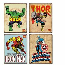 Vintage Superhero Tin Sign Bundle - The Incredible Hulk, Thor, Iron Man and C...
