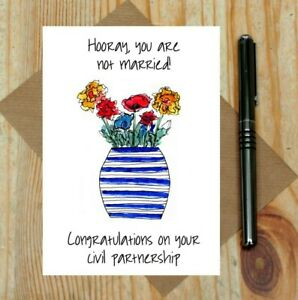 funny civil partnership card - not married card - congratulations - non wedding