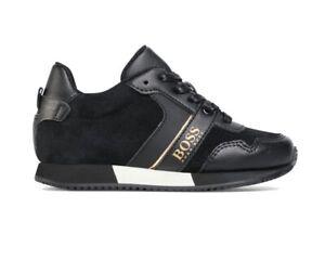 Sale Hugo Boss Junior J29225 09B Lace Up Boys Trainers Black Kids Sneakers
