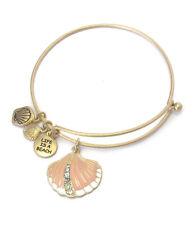 Sea Life Enamel Peach Colored Shell Charm Wire Bangle Bracelet Gold Toned