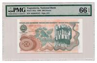 YUGOSLAVIA banknote 200 Dinara 1990 PMG MS 66 EPQ Gem Uncirculated grade