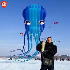 3D 15m AK blue 1 Line Stunt Parafoil Octopus Power Sport Kite outdoor toys