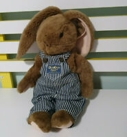 OSHKOSH B'GOSH BROWN BUNNY RABBIT STUFFED ANIMAL PLUSH TOY OVERALLS 35CM