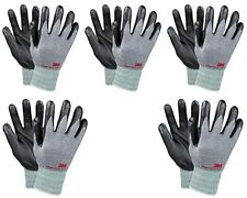 3m Thin Gray Work Gloves Nitrile Rubber Palm Coated Grip Touch Screen 5 Pack