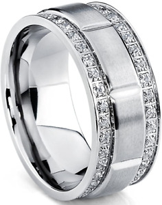 Men's Titanium Wedding Band Ring with Double Row Cubic Zirconia 9MM Sizes 7-11