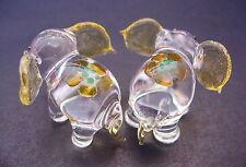2 Tiny Glass ELEPHANTS, Yellow & Clear Glass Decorative Glass Animal Ornaments