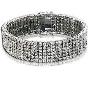 6 Row Mens Tennis Bracelet 2.25 CT Round Diamonds 925 White Gold Finish Fanook