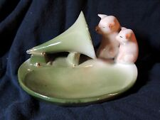 Antique vtg c1910 German Porcelain PIGS Dish Tray Nipper RCA-Victor Phonograph