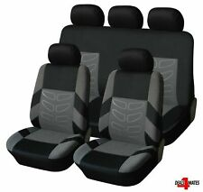 For Vw Golf Polo Grey Black Soft Fabric Front & Rear Car Seat Covers Full Set
