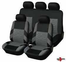 For Skoda Grey Black Soft Fabric Front & Rear Car Seat Covers Full Set 9 Pcs