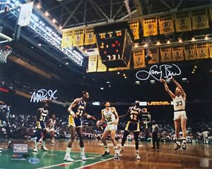 LARRY BIRD & MAGIC JOHNSON SIGNED CELTICS LAKERS 16X20 PHOTO BECKETT HORIZ WHITE