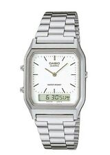 AQ-230A-7D Casio Watch Dual Time Silver Analog Digital Steel Band. TOIV