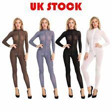 UK Women Mesh Bodysuit Open Crotch Jumpsuit See Through Sleepwear Zipper Rompers