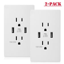 2Pack Dual USB Wall Outlet Charger Port Socket with 15A Electrical Receptacles