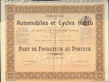 Automobiles & Cycles Hurtu Paris 1899  France