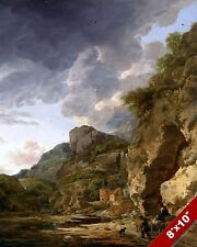 MOUNTAIN, CLOUDS & WAGON SCENIC LANDSCAPE ART PAINTING REAL CANVAS PRINT