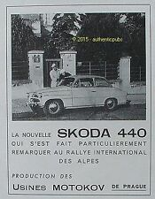 PUBLICITE AUTOMOBILE SKODA 440 RALLYE INTERNATIONAL DES ALPES DE 1956 FRENCH AD