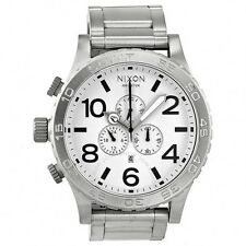 New Authentic NIXON Watch Mens 51-30 CHRONO Silver White A083-100 A083100