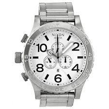 New Authentic NIXON Watch Mens 51-30 CHRONO Silver White A083-100 A083100