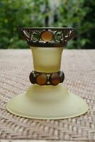 Vintage Style Yellow Vaseline Glass Candlestick Candle Holder