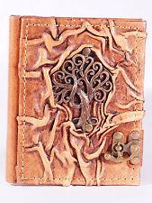 Notizbuch Leder Baum Tree of life Tagebuch m. Verschluß Diary Poesiealbum Kladde