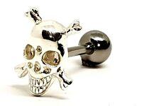 Tongue Barbell 925 Silver Skull & Crossbones 14g (1.6mm) 316L Steel Bar Piercing